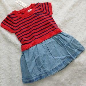 Gymboree Baby Dress Red Blue Stripes Hugs NWT
